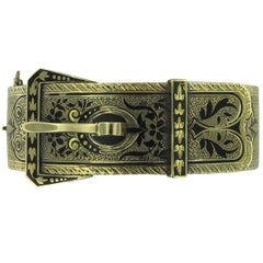 14 Karat Yellow Gold Belt Buckle Designed Cuff Bracelet