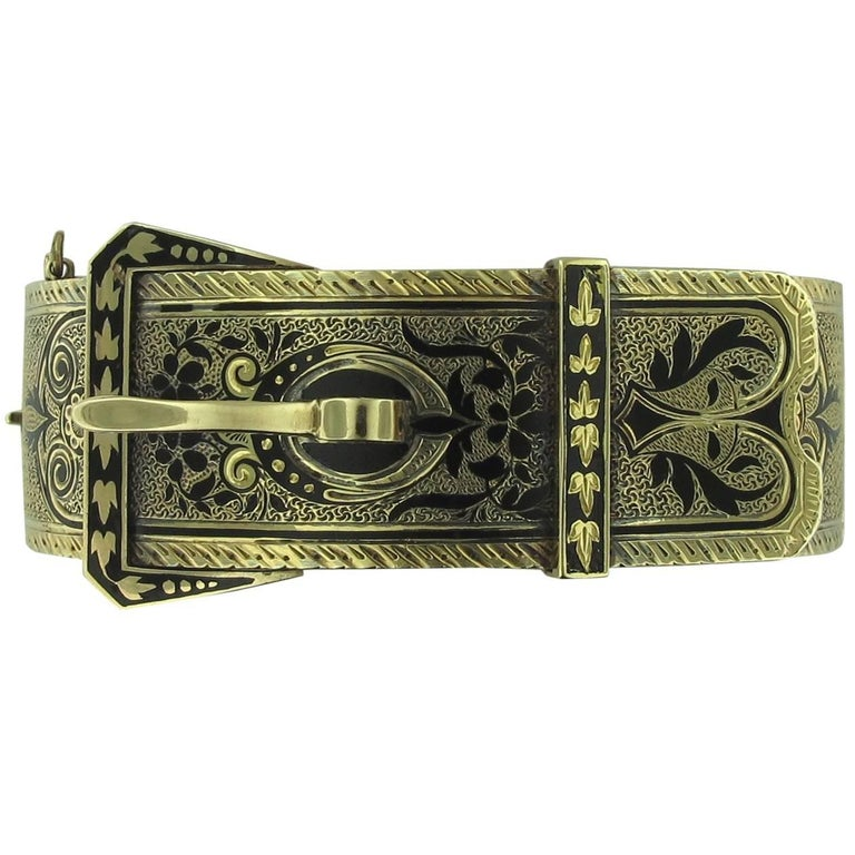 14 Karat Yellow Gold Belt Buckle Designed Cuff Bracelet