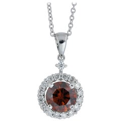 GIA Certified 1.03 Carat Natural Orangy Brown Diamond Halo Pendant