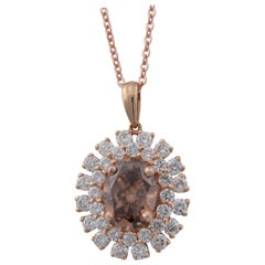 GIA Certified 1.60 Carat Oval Natural Orange-Brown Diamond in Diamond Pendant