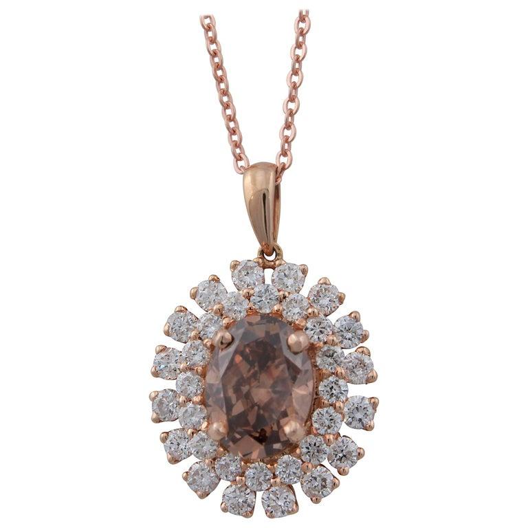 GIA Certified 1.60 Carat Oval Natural Orange-Brown Diamond in Diamond Pendant