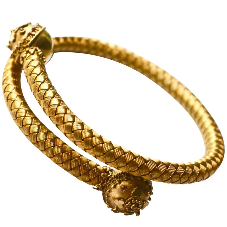 Victorian Mesh Etruscan Bracelet For Sale
