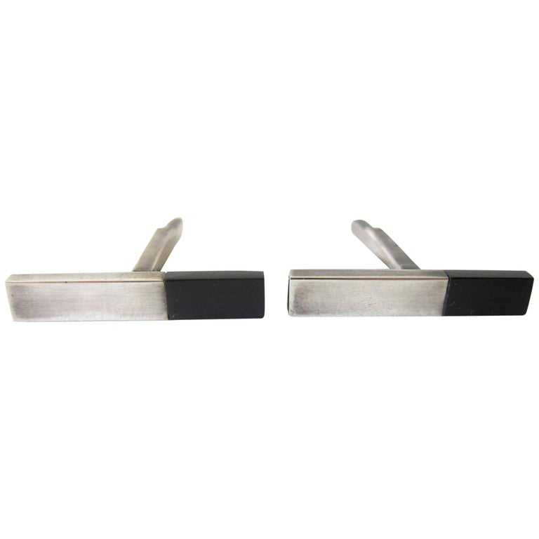 Betty Cooke Sterling Silver Exotic Wood Modernist Cufflinks For Sale