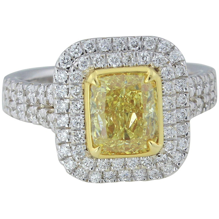 GIA Certified 1.63 Carat Cushion Cut Natural Fancy Intense Yellow Diamond Ring