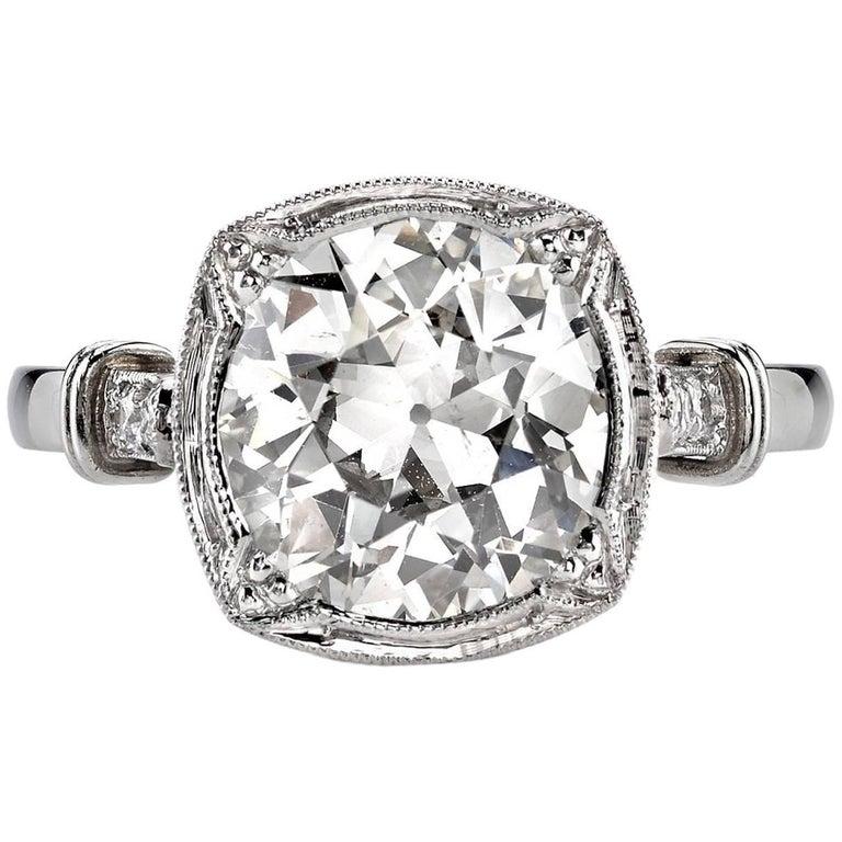 2.95 Carat Old European Cut Diamond Engagement Ring