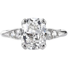 2.33 Carat Vintage Cushion Cut Diamond Engagement Ring