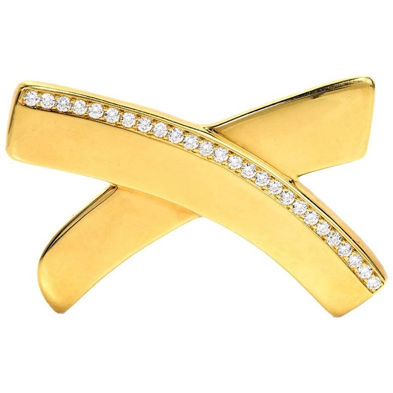 1990s Large Paloma Picasso Gold Diamond Pin Brooch