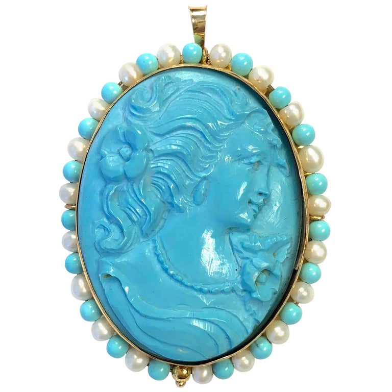 Vintage Turquoise and Pearl Gold Cameo Pin Pendant