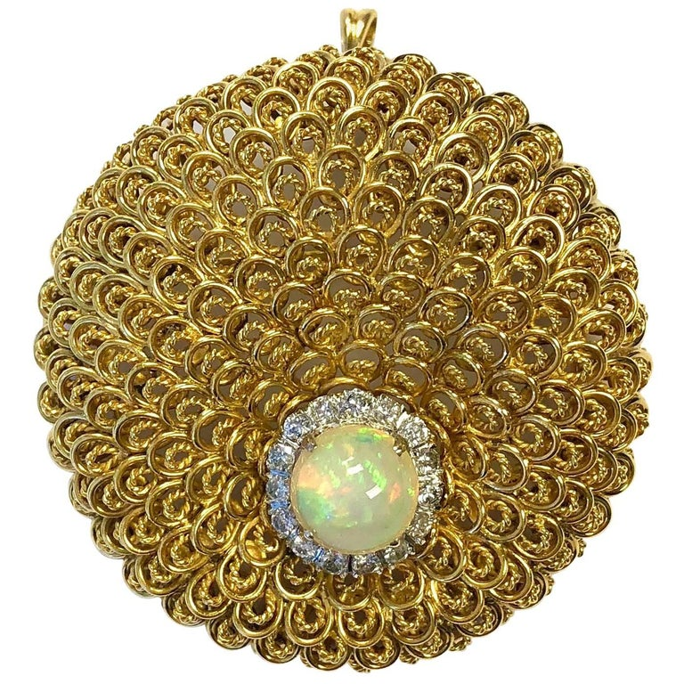 Vintage Crystal Opal and Diamond Gold Pin Pendant