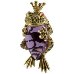 "Amethyst Tsavorite Diamond Yellow Gold ""Frog Prince"" Pendant"