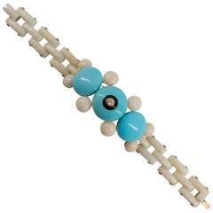 Onyx Turquoise White Coral Diamond Yellow Gold Bracelet