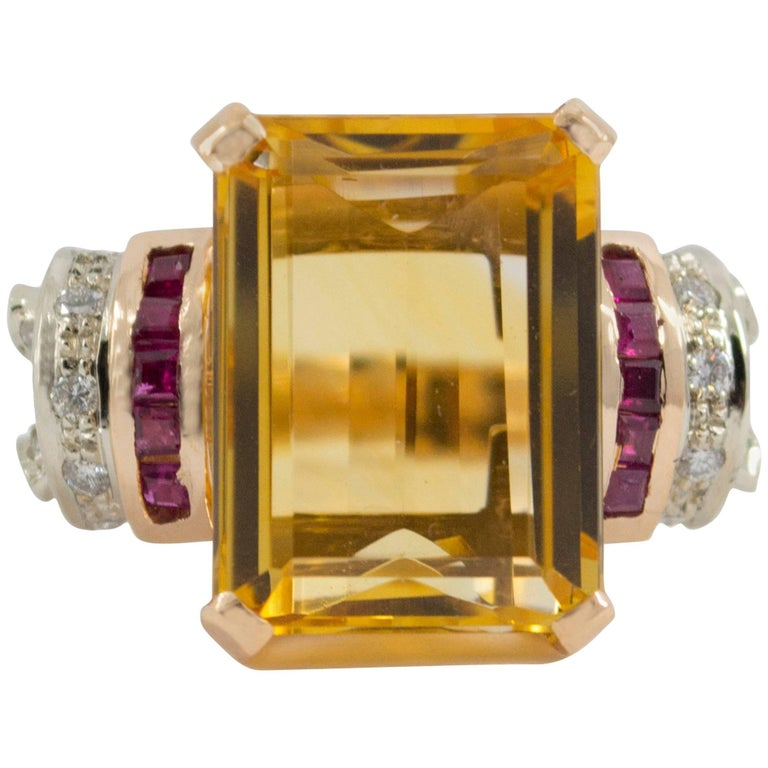 Citrine Ruby Diamond Yellow Gold Cocktail Ring