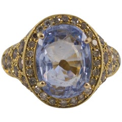 5.46 Carat Sapphire Black Diamond Yellow Gold Cocktail Ring