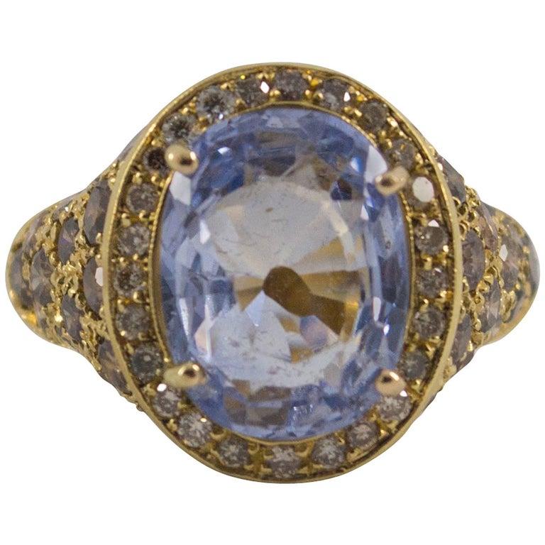 2.80 Carat Black Diamond 5.46 Carat Blue Sapphire Yellow Gold Cocktail Ring
