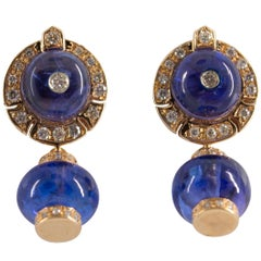 Art Deco 21.50 Carat Tanzanite White Diamond Yellow Gold Stud Dangle Earrings