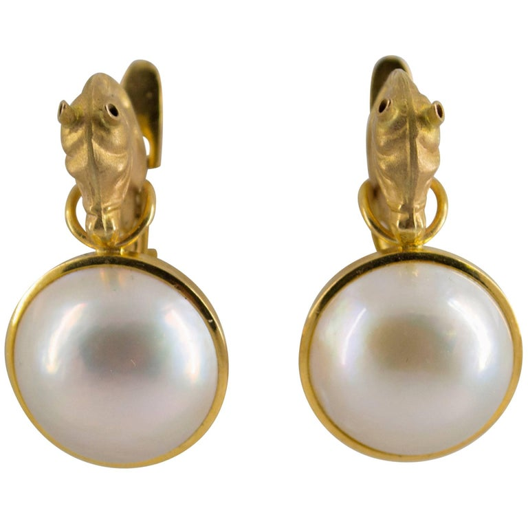 Mabe Pearl Yellow Gold Yellow Gold Horses Lever-Back Earrings