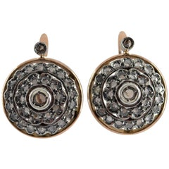 Renaissance Style 1.70 Carat White Diamond Yellow Gold Lever-Back Earrings