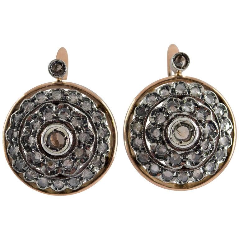 Art Deco 1.70 Carat Diamond Yellow Gold Lever-Back Earrings