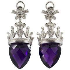 Renaissance Style 1.20 Carat White Diamond Amethyst White Gold Clip-On Earrings