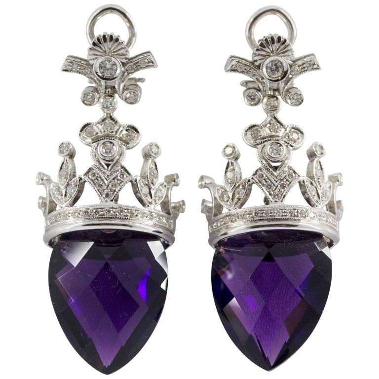 1.20 Carat Diamond Amethyst White Gold Clip on Earrings
