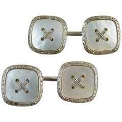Vintage Art Deco Button Cufflinks, White Gold, Mother-of-Pearl