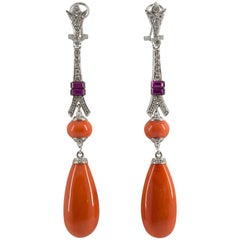 Amethyst Coral Diamond White Gold Clip-On Earrings