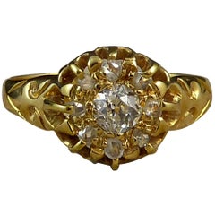 Antique Edwardian Diamond Ring, Old Cut and Rose Cut Diamonds,  Birmingham 1903