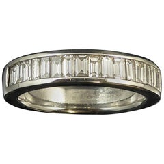 Pre-owned Baguette Diamond Half Eternity Wedding Ring, 0.96ct, White Gold Band