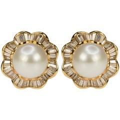 18 Karat Yellow Gold South Sea Pearl and Diamond Earrings