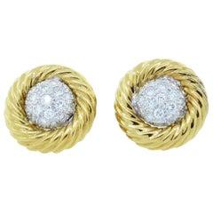 Diamond Pave Ball Earring in 18 Karat Two-Tone Gold