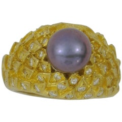 Pearl Diamond Peacock Design Gold Ring