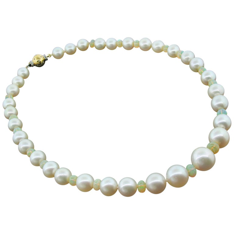 South Sea Pearl and Fire Opal Necklace