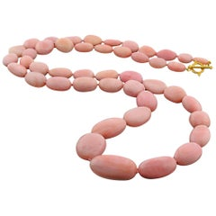 Pink Opal Necklace with 14 Karat Gold Clasp