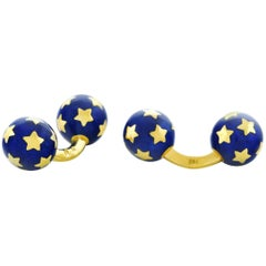 French Enamel and Gold Star Cufflinks
