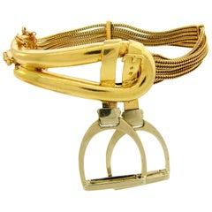 1970s Hermes Gold Equestrian Buckle Bracelet