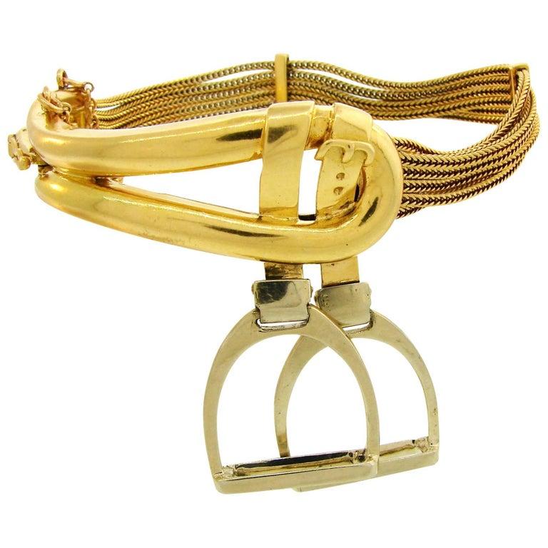 1970s Hermes Gold Equestrian Buckle Bracelet For Sale