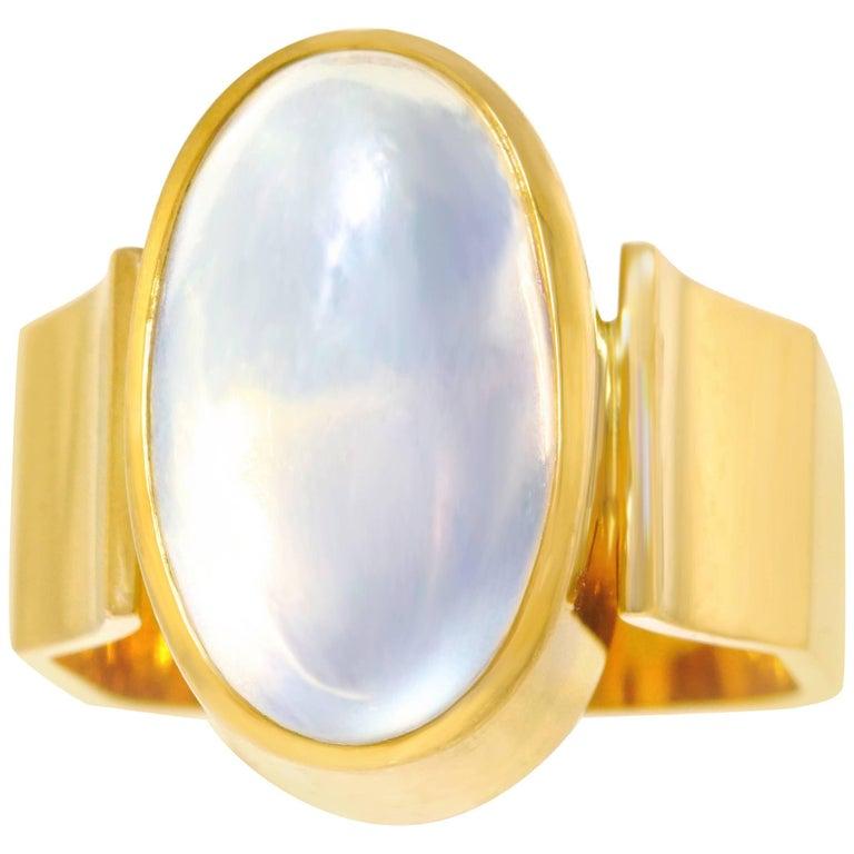 Modernist 4.0 Carat Moonstone Set Gold Ring