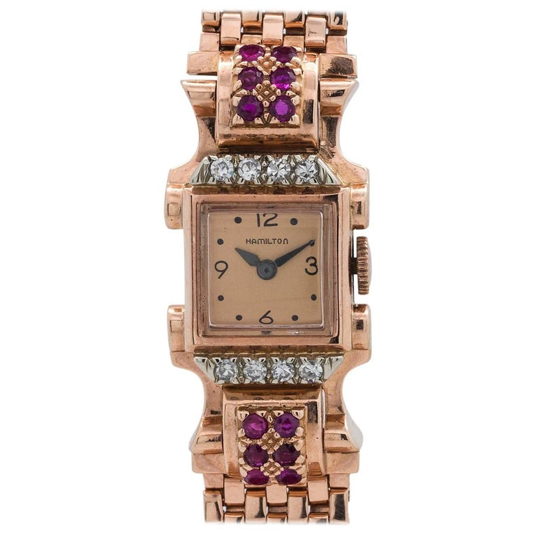 Hamilton Ladies Rose Gold Ruby and Diamond Dress Model Wristwatch, circa 1940s