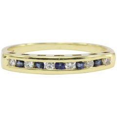 Cartier Yellow Gold Diamond and Sapphire Channel Set Half Band