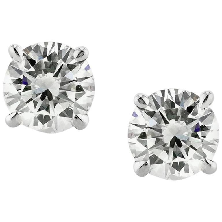 Mark Broumand 1.21ct Round Brilliant Cut Diamond Stud Earrings in 14k White Gold