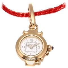 Rare Cartier Pasha Watch Gold Sapphire Charm