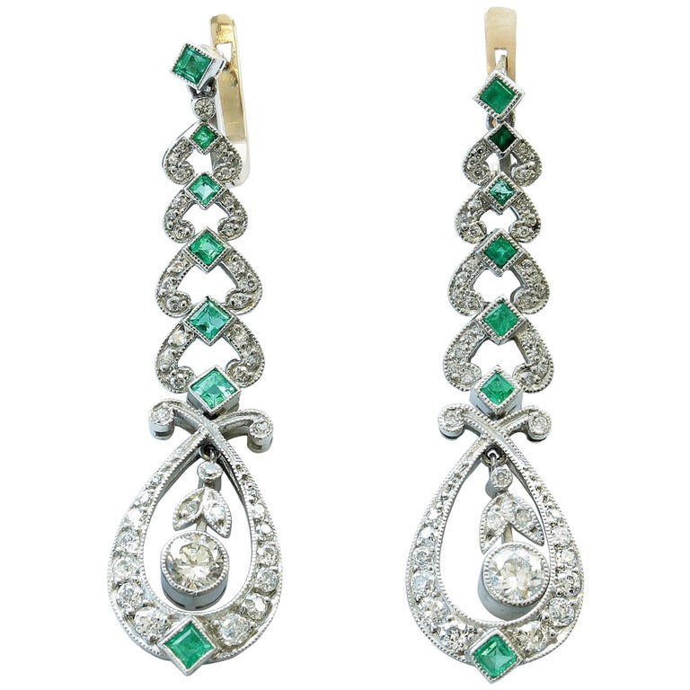 Diamond Emerald Platinum Drop Earrings