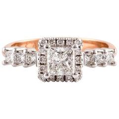 Kian Design 0.72 Carat Princess Cut Halo Diamond Two Tone Gold Ring