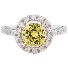 Kian Design 1.33 Carat Round Yellow Sapphire and Diamond Two Tone Ring