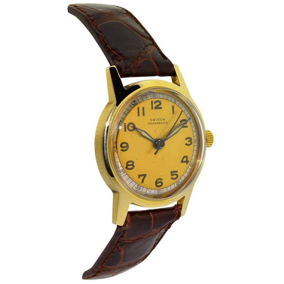 Croton Yellow Gold Aquamedico Original Dial Manual Wind Watch, 1950s