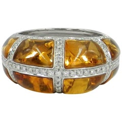 Citrine and Diamonds Ring in 18 Karat White Gold Made by Garavelli, Italy