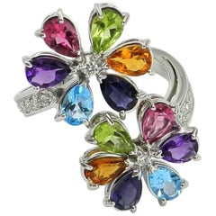 18 Karat White Gold Garavelli Ring with Diamonds and Natural Color Stones