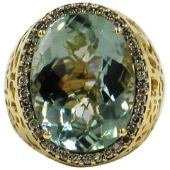 18 Karat Yellow Gold Garavelli Ring with Praseolhite and Brown Diamonds