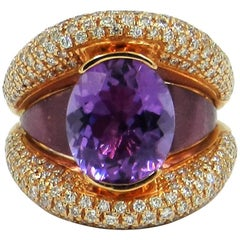 18 Karat Rose Gold Garavelli Ring with Amethist and Diamonds