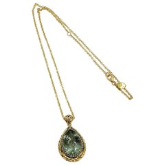 18 Karat Yellow Gold Garavelli Necklace with Praseolite and Brown Diamonds